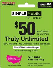 3 MONTH SIMPLE MOBILE $50 PLAN 90 Days Preloaded ($150 Value) INCLUDES 3GB LTE