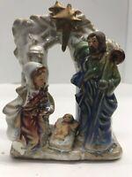 "Nativity Porcelain Figurine Mary Joseph Jesus Holy Family Christmas 5"" Tall"