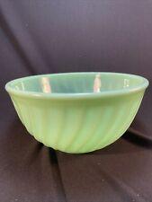 "Vintage Fire King Jadeite Green 8"" Swirl Mixing Bowl Jadite Glass Oven Ware Usa"