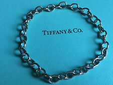 Tiffany & Co PLATINUM 950 clasping oval link chain charm bracelet Large 8""