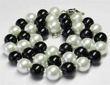 10mm Real Black White Sea Shell Pearl Necklace 18'' AAA