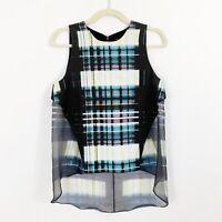 MARISSA WEBB Black Silk Blouse Top Size Medium Sleeveless High Low Sheer