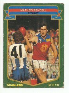 SCANLENS AFL 1985 - No. 59 Mathew Rendell - Fitzroy - *SIGNED*