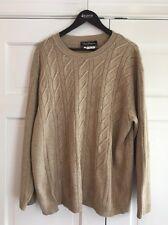 Salvatore Ferragamo Silk & Camel Hair Beige Cable Knit Sweater EUC Italy Sz L