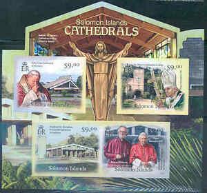 SOLOMON ISLANDS 2012 CATHEDRALS POPE JOHN PAUL II POPE BENEDICT XVI SHEET IMPF