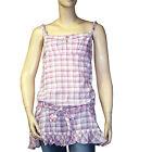 LOLA ESPELETA débardeur tunique carreaux rose femme taille 2