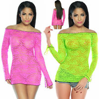 Top Women's Clubbing Mini Dress Sexy Ladies Lace Blouse Party Shirt Size 6 8 10
