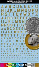 """Waterslide Decals USAAF Stencil Gold Letters 2""""x3"""" Decal Sheet +9 Other Colors"""
