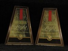 Pair of Michelob Light Mirrored Bar Sign with Wood Frame