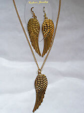 Angel wing necklace and earrings set goldtone large