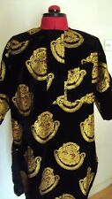 "Nigerian Igbo Traditional Groom Men's ""Isi Agu"" Loose Shirt / Top - Black Small"
