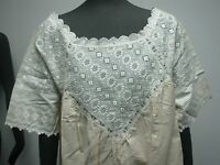 ANTIQUE LINEN SHORT SLEEVE NIGHTGOWN BUTTER COLOR w IVORY EMBROIDERED EYELET