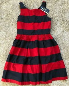 NWT Ralph Lauren Childrenswear Girls Red/Navy Stripe Fit and Flare Dress Size 16