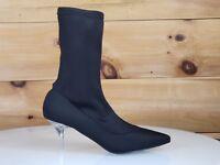 Mac J Black Stretch Pull On Ankle Sock Boot Clear Kitten Heel 5.5 - 10