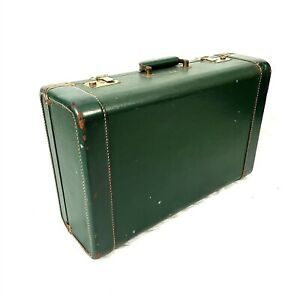 Green Suitcase & Key Luggage Hard Shell Vintage 1950s GKG R-22 Lock Stackable