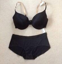 Next Ladies Black & Nude U/W Moulded Bra & Bonded Short Set Size 38C/12 BNWT