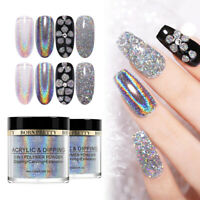 BORN PRETTY Holographic Acrylic Dipping Powder Carving Extension Mirror Nail Art
