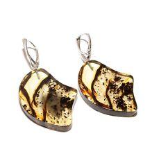 Genuine Baltic Amber Earrings 6.3 cm Length Long Unique Handmade