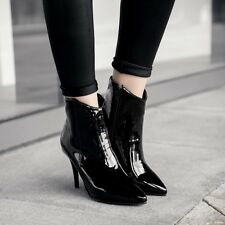 Womens Patent Leather Stilettos Pointed Toe Side Zipper Shoes Trendy Ankle Boots