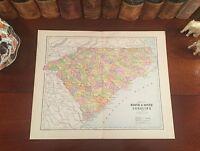 Original 1890 Antique Map NORTH SOUTH CAROLINA Raleigh Durham Charleston Aiken