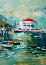 Catalina Island Avalon Harbor Casino Limited Edition ACEO Print Art Yary Dluhos.