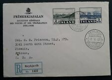 SCARCE 1957 Iceland Registd Cover ties 2 stamps cancelled Reykjavik to USA