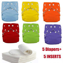 5 Diapers+5 Inserts Adjustable Reusable Washable Baby Cloth Diaper Nappies