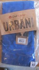 Ch 00006000 ef Works Urban Collection Blue Striped Bistro Apron Quality Fabric Nwt Adults