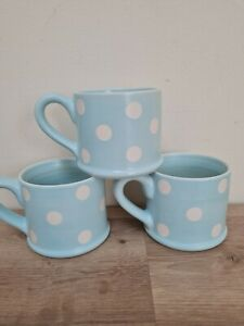 M&S Floral Spotted Teal Duck-egg Blue & White Mug Set x3 Hand Painted