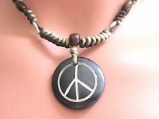 Mens PEACE SIGN SYMBOL WOOD BEADS Surfer Choker Adjust. CORD NECKLACE
