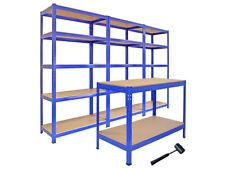 Pack 3 Estanterías T-Rax 90cm y Mesa de Trabajo Q-Rax Acero Sin Tornillos Azules