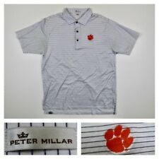 Peter Millar Men's Clemson Tigers Striped Golf Collegiate Polo Shirt Size Large