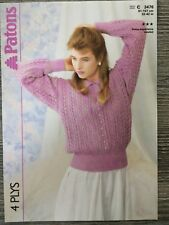 """Patons Knitting Pattern: Ladies Lacy Sweater, 4ply, 32-42"""", 3476"""