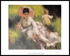 Auguste Renoir Dame mit Sonnenschirm Poster Kunstdruck im Alu Rahmen 60x80cm