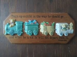 """3-dimensional Teddy Bear Train """"Train Up A Child In The Way They Should Go""""."""