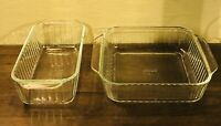 2 Vintage Pyrex Clear Ribbed Glass 1 Meatloaf 213-S & 1 Brownie 222-S Dishes