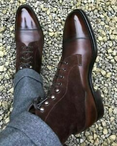 NEW-Mens Handmade Two Tone Brown Suede & Leather Ankle High Cap Toe Men Boots