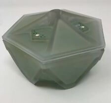 Art Deco Frosted Glass Covered Powder Box Rombic Geometric