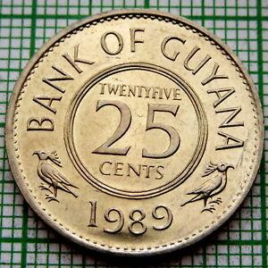 GUYANA 1989 25 CENTS, UNC