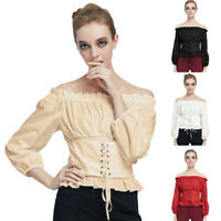 Women Lace-Up Gothic Tops Long Sleeve Steampunk Off Shoulder Casual Shirt Blouse