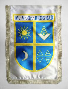 Exclusive Serbia Freemason Masonic luxury table flag Maksimilijan Vrhovac Lodge