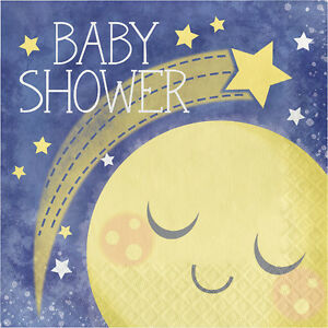 16 x Baby Shower Paper Party Napkins Love you to the Moon & Back Party Tableware
