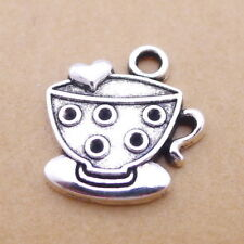 10pcs Coffee Cups Charms Tibetan Silver Beads Pendant DIY Craft 23*23mm