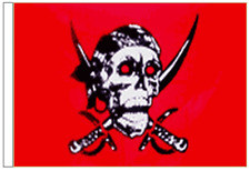 Pirate Skull and Sabres Red Sleeved Flag for Boats 45cm x 30cm
