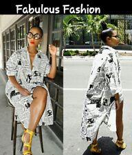 Chic Long Sleeve White Black Newspaper Print Button Down Loose Shirt Dress M