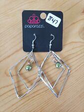 847 SILVER DIAMONDS W/ GREEN BEAD EARRINGS (new)