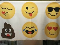 "Fabric Emoji's on White Cotton Panel 24""x44"""