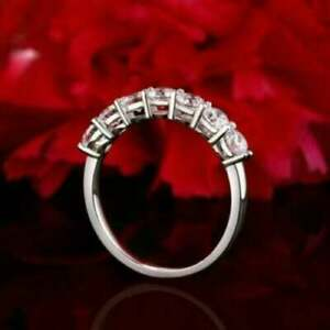Moissanite Brilliant Cut 7 Stone Wedding Band Ring Solid 14k White Gold 04