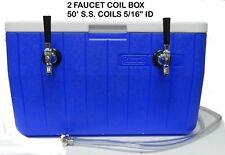 "Jockey Box Cooler, 2 Faucet 5/16"" 50' Stainless Steel Coil, 48QT Cooler.-CB50S2"