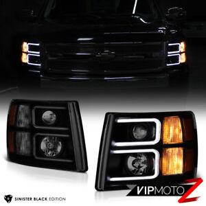 """SINISTER BLACK"" DARKEST Smoke 07-13 Chevy Silverado PickUp Projector Headlights"